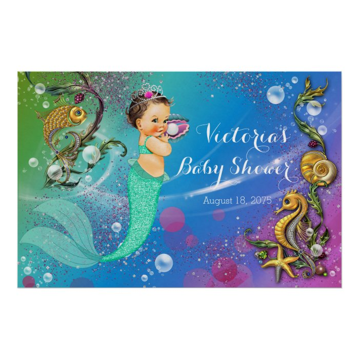 Mermaid under the sea baby shower poster zazzle