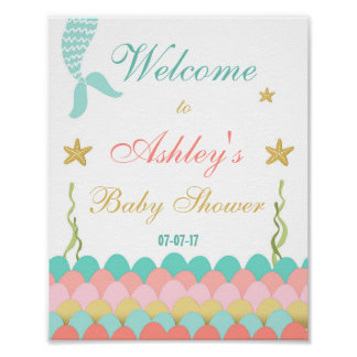 Mermaid Under the Sea Baby shower Welcome Girl Poster