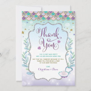 Mermaid Thank You Cards Zazzle