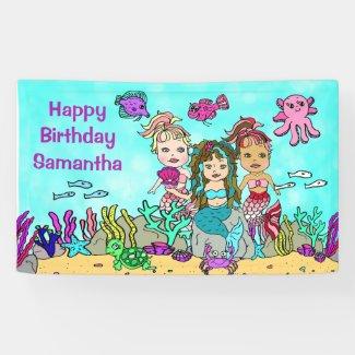 Mermaid Under the Sea Birthday Banner