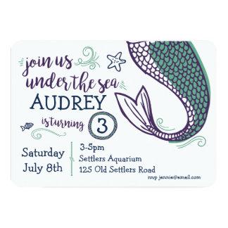 Mermaid Under the Sea Birthday Invitation