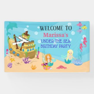 Mermaid Under the Sea Birthday Party Banner