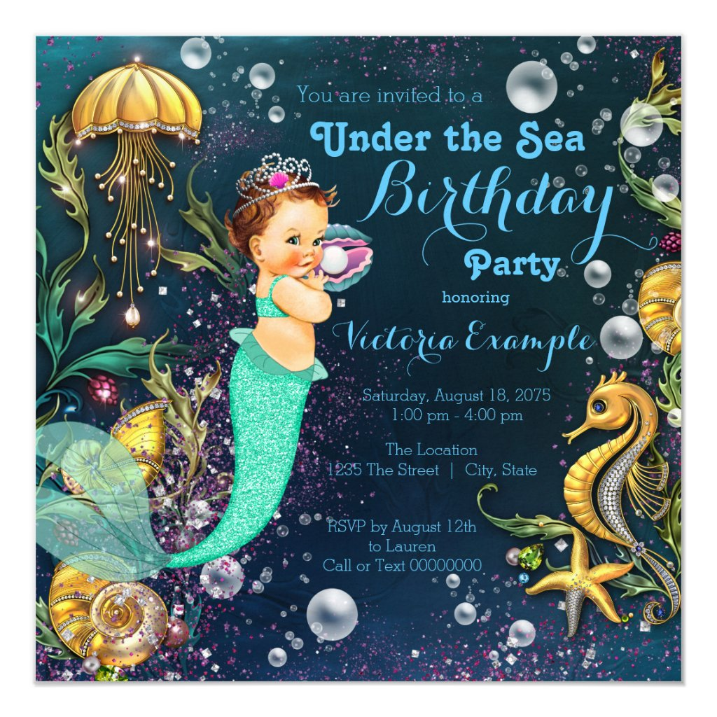 Mermaid Under The Sea Birthday Party Card