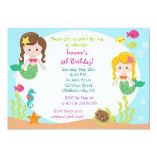 "Mermaid Under the sea Birthday Party Invitation 5"" X 7"" Invitation Card"