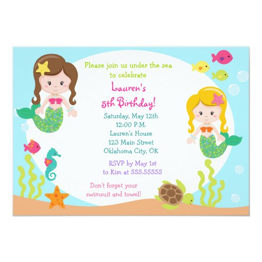 mermaid under the sea birthday party invitation - Under The Sea Party Invitations