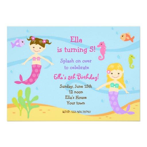 Mermaid  Under the sea Birthday Party Invitations