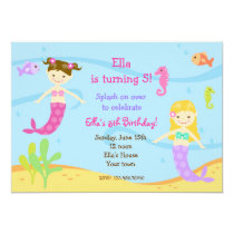 "Mermaid  Under the sea Birthday Party Invitations 5"" X 7"" Invitation Card"