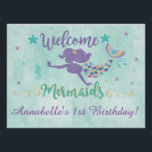"Mermaid Under The Sea Birthday Party Poster<br><div class=""desc"">This large purple,  teal and gold mermaid sign is perfect for your under the sea birthday party!</div>"