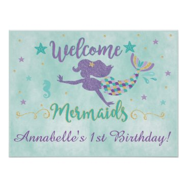 YourMainEvent Mermaid Under The Sea Birthday Party Poster