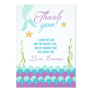 Mermaid Under the Sea Birthday Thank You Card