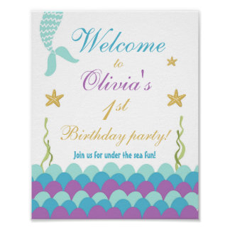 Mermaid Under the Sea Birthday Welcome Sign Purple