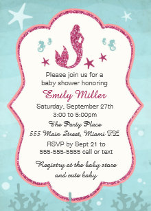 mermaid under the sea bridal shower invitation