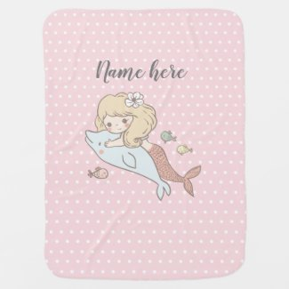mermaid , under the sea, cute girl, adorbale, baby blanket