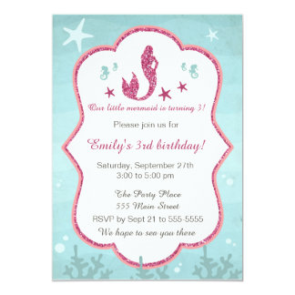 Mermaid Under The Sea Girl Birthday Invitation