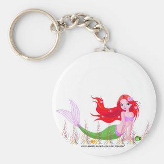 Mermaid under the sea basic round button keychain