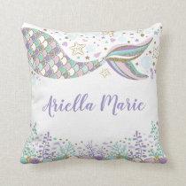 Mermaid Under the Sea Ocean Baby Girl Nursery Throw Pillow