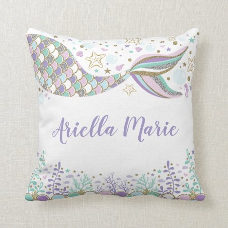 Mermaid Under the Sea Ocean Baby Girl Nursery Throw Pillow