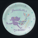 "Mermaid Under The Sea Party Paper Plates<br><div class=""desc"">These purple and teal mermaid paper plates will match your under the sea birthday party decor perfectly! Easily personalize with your child&#39;s name and age to add a special touch to your mermaid party.</div>"
