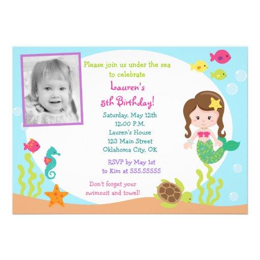 Mermaid Under the Sea Photo Birthday Invitation