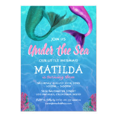 Mermaid Under the Sea Pool Birthday Invitation