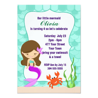 Mermaid Under The Sea Pool Party 5x7 Paper Invitation Card