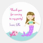 Mermaid Under The sea Round Favor Stickers