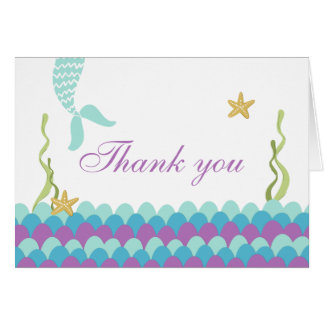 Mermaid Under The Sea Thank you card Teal Purple