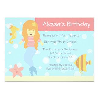 "Mermaid & Underwater Animals Theme Birthday Party 5"" X 7"" Invitation Card"