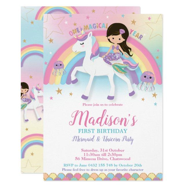 Mermaid Unicorn 1st First Birthday Party Invitation