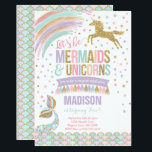 "Mermaid &amp; Unicorn Birthday Invitation Magic Party<br><div class=""desc"">Mermaid &amp; Unicorn Birthday Invitation. A perfect Way to announce your Magical Unicorn party!  Design are all &#169; PIXELPERFECTIONPARTYLTD</div>"