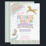 "Mermaid &amp; Unicorn Birthday Invitation Magic Party<br><div class=""desc"">Mermaid &amp; Unicorn Birthday Invitation. A perfect Way to announce your Magical Unicorn party!  Design are all &#169; PIXELPERFECTIONPARTYLTD</div>"