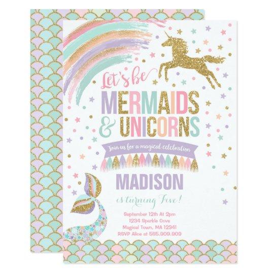 Mermaid Unicorn Birthday Invitation Magic Party Zazzle Com