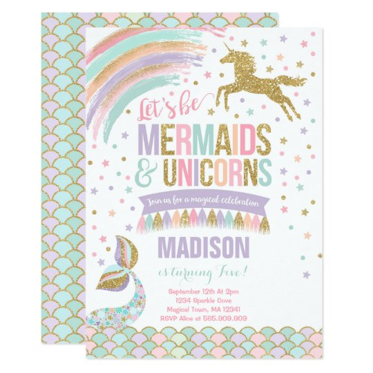 Mermaid Unicorn Birthday Invitation Magic Party