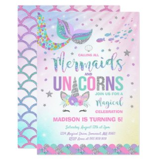 Mermaid & Unicorn Birthday Invitation Magic Party