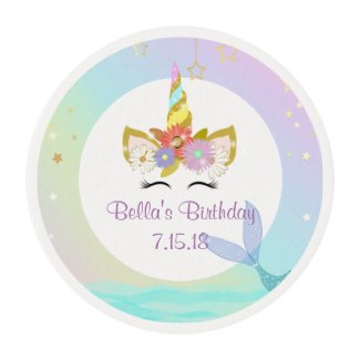 Mermaid Unicorn Cupcake Toppers Edible Frosting Rounds