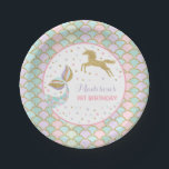"Mermaid &amp; Unicorn Gold Paper Plate 7&quot; Paper Plates<br><div class=""desc"">Mermaid &amp; Unicorn Pink And Gold Paper Plate 7&quot; Paper Plates. The Glitter effect within this design is a digital image made to look like real glitter. High quality and still gorgeous, but no actual real glitter will be used in the making of this product. All designs are &#169; PIXEL...</div>"