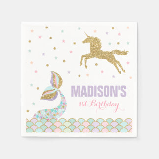 Mermaid & Unicorn Party Napkin Whimsical Unicorn