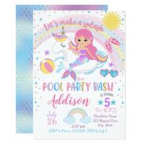 Mermaid Unicorn Pool Party Birthday Invitation
