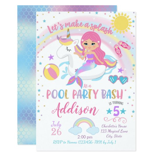 Mermaid Unicorn Pool Party Birthday Invitation Zazzle Com