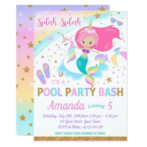 Mermaid & Unicorn Pool Party Invitation