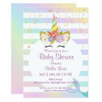 Mermaid Unicorn Rainbow Baby Shower Cards