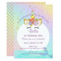Mermaid Unicorn Rainbow Birthday Invitations