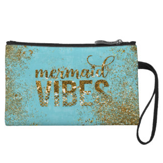 Mermaid Vibes- Gold Glitter Typography on Teal Wristlet