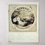 Mermaid, Vintage 1868 Poster