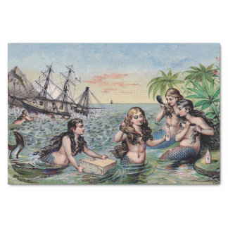 Mermaid Vintage Antique Magic Nautical Tissue Paper