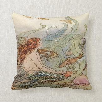 Mermaid Vintage Illustration Pillow