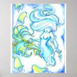 """Mermaid w/Jellyfish"" Poster"
