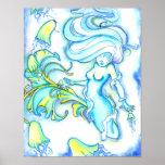 Mermaid w/ Jellyfish Poster