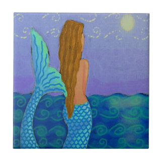 Mermaid Watching the Sun Small Square Tile