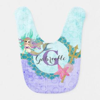 Mermaid Watercolor Aqua Purple Monogram Baby Girl Bib